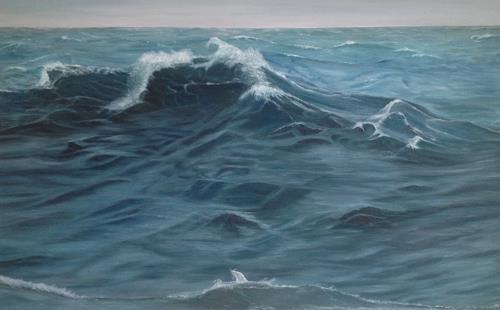 Theresia Züllig, Sturmwelle vor Bastia, Natur: Wasser, Landschaft: See/Meer, Naturalismus, Abstrakter Expressionismus