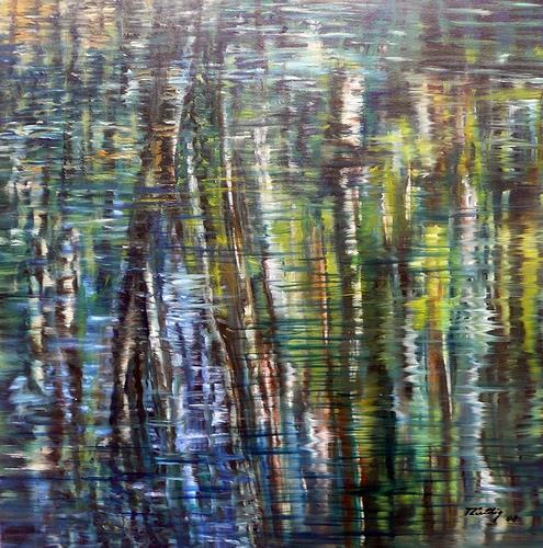 Theresia Züllig, Birkenspiegelung, Landschaft: See/Meer, Natur: Wasser, Naturalismus
