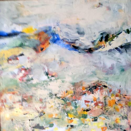 Jahn dArte (Klaus Eduard Jahn), Frühling lässt sein blaues Band ,,,,, Landschaft, Neo-Impressionismus