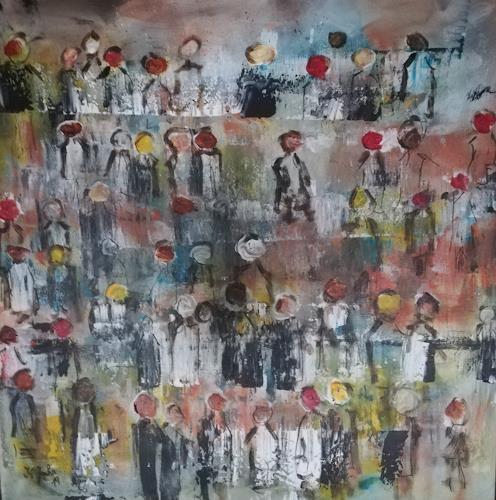 Jahn dArte (Klaus Eduard Jahn), Ob rot,schwarz,weiß,gelb.., Diverse Menschen, expressiver Realismus, Abstrakter Expressionismus