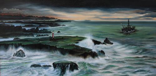 ingo platte, Die Schatzinsel, Landschaft: See/Meer, Natur: Wasser, Fotorealismus, Abstrakter Expressionismus