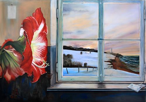 ingo platte, Fernweh, Landschaft: See/Meer, Pflanzen: Blumen, Postsurrealismus, Expressionismus