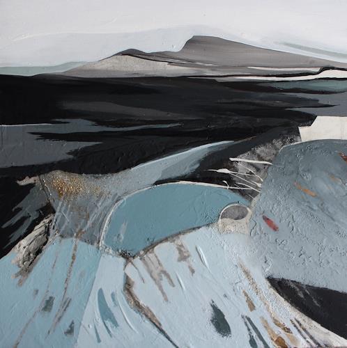 Conny Niehoff, Island 4, 70/70 cm, Landschaft: Berge, Abstrakte Kunst, Abstrakter Expressionismus