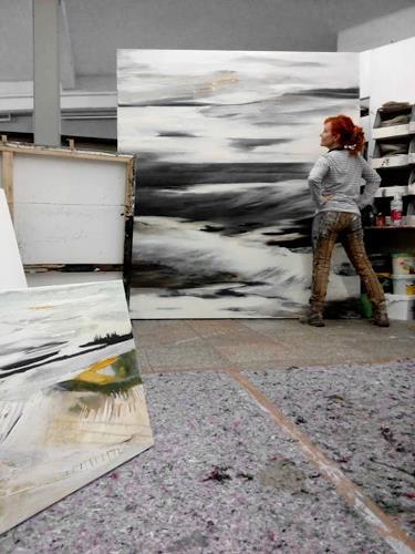 Conny Niehoff, Am Meer, Landschaft, Abstrakte Kunst