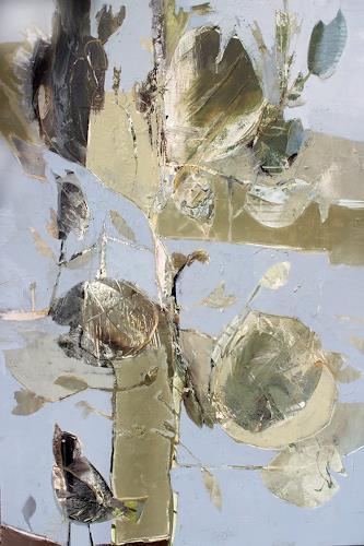 Conny Niehoff, Die Amsel singt am Gartenteich im Apfelbaum ihr Lied, Landschaft: Frühling, Abstrakte Kunst, Abstrakter Expressionismus