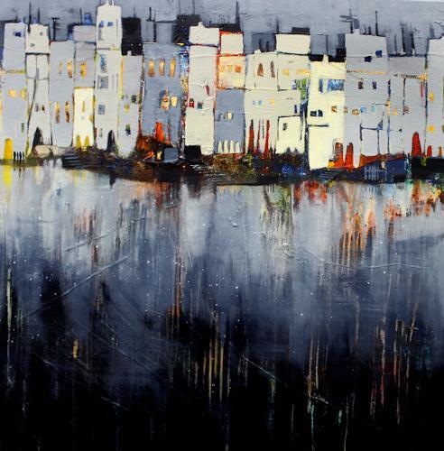 Conny Niehoff, Abends in der Stadt, Architektur, Abstrakte Kunst, Abstrakter Expressionismus