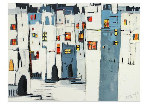 Conny Niehoff, Städtchen im Süden, Abstraktes, Abstrakte Kunst, Expressionismus
