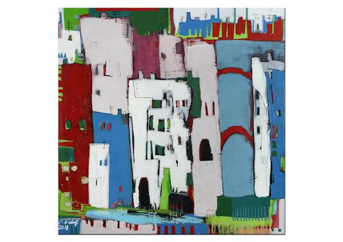 Conny Niehoff, Bunter Sommer in der Stadt, Abstraktes, Abstrakte Kunst