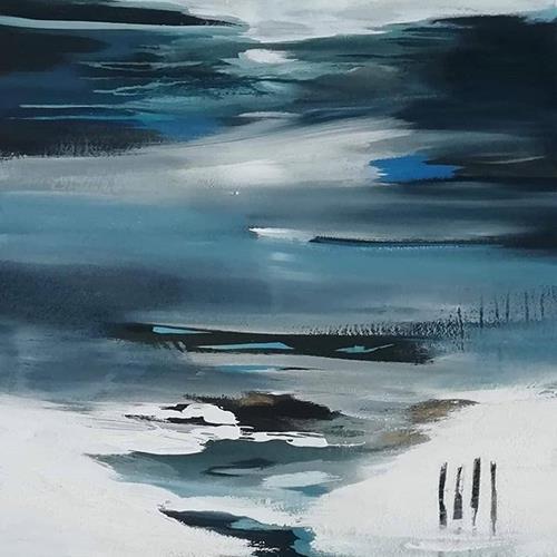 Conny Niehoff, Eisbaden, Landschaft, Abstrakte Kunst, Expressionismus