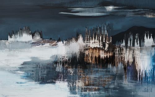 Conny Niehoff, Winternacht, Abstraktes, Abstrakte Kunst, Expressionismus