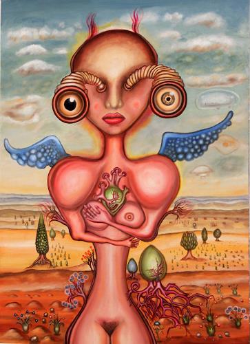 Dimitrios Loumiotis, alien angel, Fantasie, Fantasie, Realismus, Abstrakter Expressionismus