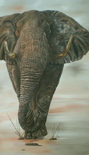 Ulrike Holbinger, Gustav, der Elefant, Jagd, Tiere: Land, Realismus, Expressionismus