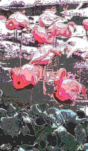 Günter Otto von Deyen, Flamingos, Tiere: Wasser, Neo-Expressionismus