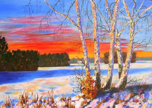 Karin Müller, Sonnenuntergang - Winterspaziergang, Landschaft: Winter, Romantik: Sonnenuntergang
