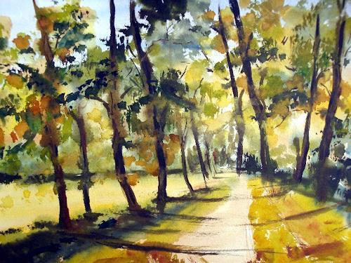 Karin Müller, Spaziergang unter Bäumen, Natur: Wald, Expressionismus