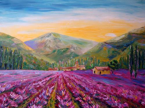 Karin Müller, Lavendelrausch, Landschaft: Berge, Romantik: Sonnenuntergang