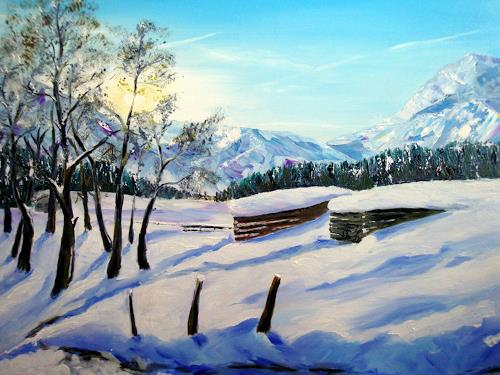 Karin Müller, Winterimpressionen in den Bergen, Landschaft: Berge, Romantik: Sonnenaufgang