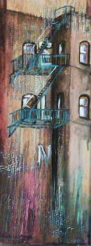 Anne Waldvogel, Seitenstraße von der Fifth Av./ N.Y., Architektur, Gegenwartskunst