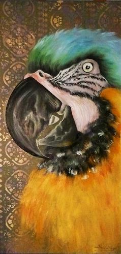 Anne Waldvogel, Indischer Papagei, Dekoratives, Tiere: Luft, Gegenwartskunst