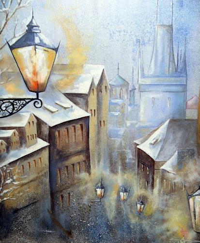 Anne Waldvogel, Gasse  in Prag_2, Romantik, Architektur, Gegenwartskunst