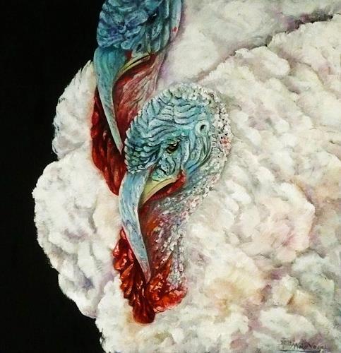 Anne Waldvogel, zwei Truthähne, Tiere: Land, Dekoratives, Gegenwartskunst, Abstrakter Expressionismus