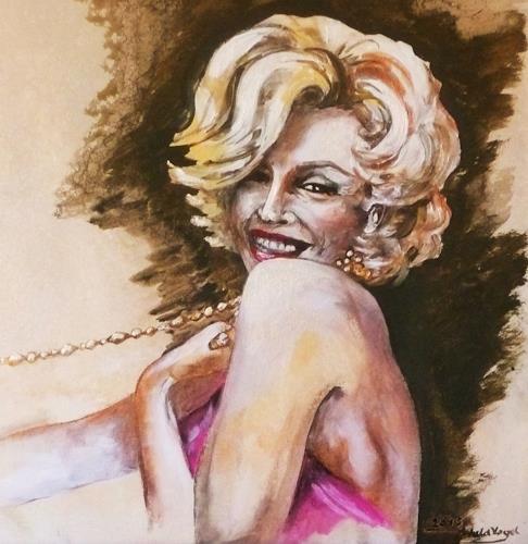 Anne Waldvogel, Marilyn, Menschen: Frau, Party/Feier, Gegenwartskunst, Expressionismus