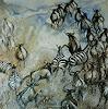 Anne Waldvogel, Zebra- und Gnuherde im Aufbruch