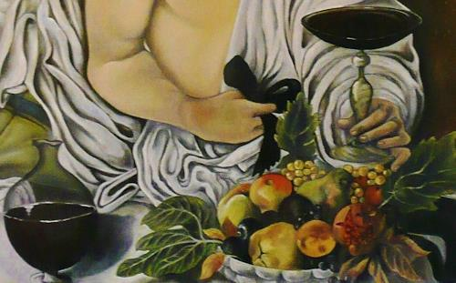 Anne Waldvogel, Bacchus nach Caravaggio - Detail, Menschen, Renaissance