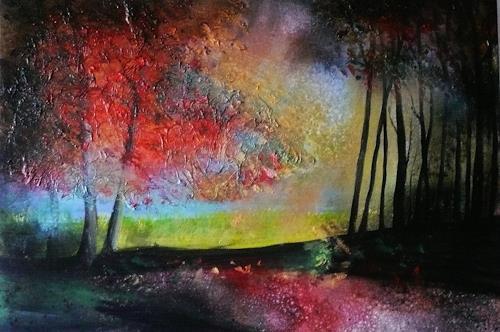 Anne Waldvogel, Indian Summer 2, Pflanzen: Bäume, Landschaft, Gegenwartskunst, Abstrakter Expressionismus