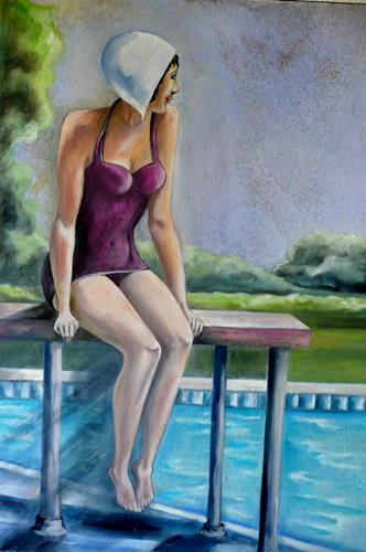 Anne Waldvogel, Am Pool, Menschen: Frau, Art Déco