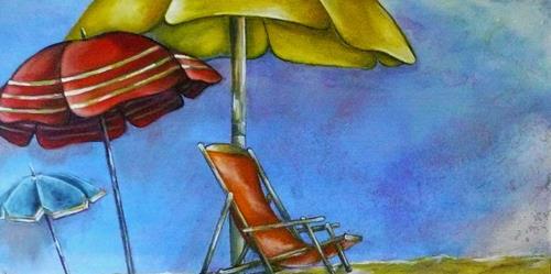 Anne Waldvogel, Relaxe, Landschaft: See/Meer, Art Déco