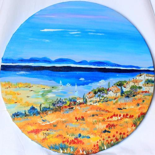 Brigitte Kölli, Südfrankreich, Landschaft: See/Meer, Landschaft: Sommer, Konkrete Kunst