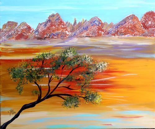 Brigitte Kölli, Am Fuss der Alpilles, Landschaft: Berge, Pflanzen: Bäume, Konkrete Kunst