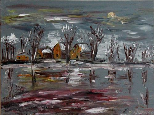 Brigitte Kölli, Winterland, Landschaft: Winter, Natur: Wasser, Konkrete Kunst