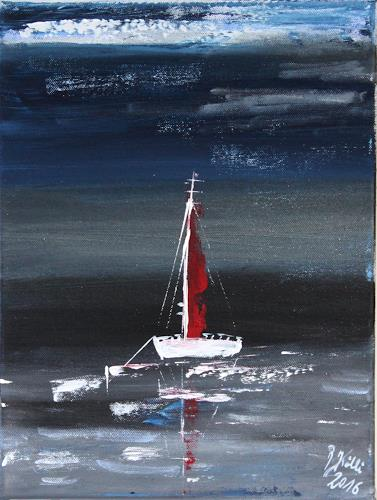 Brigitte Kölli, In the night, Landschaft: See/Meer, Natur: Wasser, Konkrete Kunst