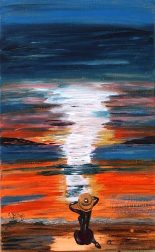 Brigitte Kölli, Sunset, Menschen: Frau, Landschaft: See/Meer, Konkrete Kunst