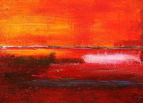 Conny Wachsmann, Landschaftsbild orange relaxe, Dekoratives, Landschaft, Abstrakte Kunst