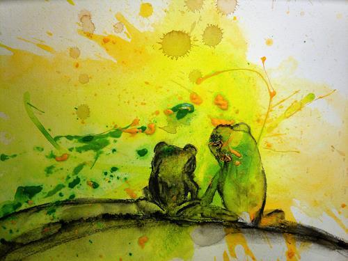 Conny Wachsmann, Froschbild Frösche grün Wachsmann auf Malpappe - 30 x 40 cm, Abstraktes, Humor, Art Déco, Expressionismus
