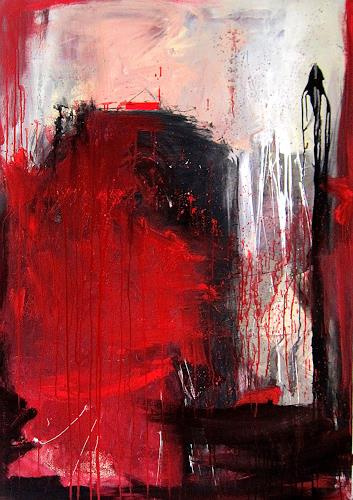 Conny Wachsmann, rotes Bild, Abstraktes, Diverse Gefühle, Moderne