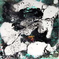 Conny Wachsmann, schwarz weiß Acrylbild