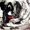 Conny Wachsmann, abstraktes schwarz weißes Acrylbild