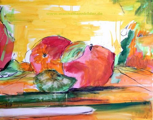 Conny Wachsmann, Abstrakte Äpfel, Landschaft, Pflanzen: Früchte, Abstrakte Kunst