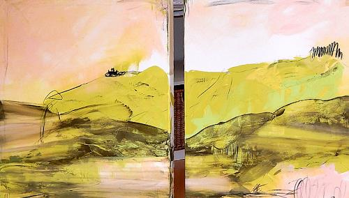 Conny Wachsmann, Bild grün pastell, Landschaft, Abstraktes, Moderne