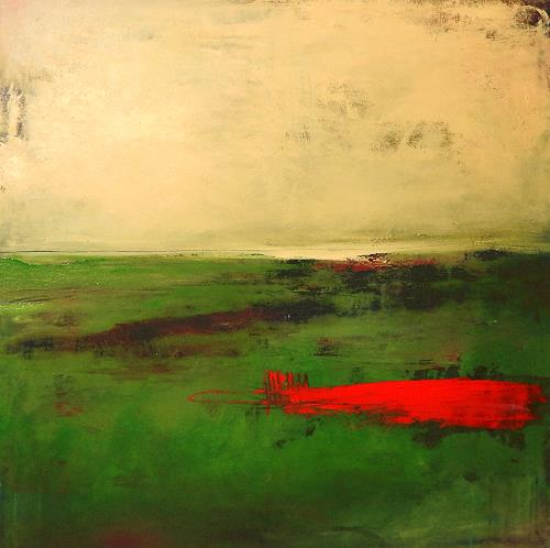 Conny Wachsmann, abstraktes grünes Bild - Drüben, Abstraktes, Geschichte, Abstrakte Kunst, Abstrakter Expressionismus