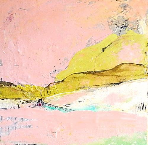 Conny Wachsmann, rosa abstraktes Bild, Landschaft, Abstraktes, Abstrakte Kunst