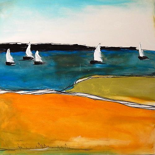 Conny Wachsmann, Knotenpunkt - Bild mit Segelschiffen, Gesellschaft, Landschaft: Ebene, Moderne