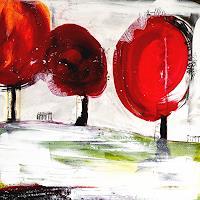 Conny Wachsmann, Lustige Frauenrunde - Gemälde in Rot und Weiß