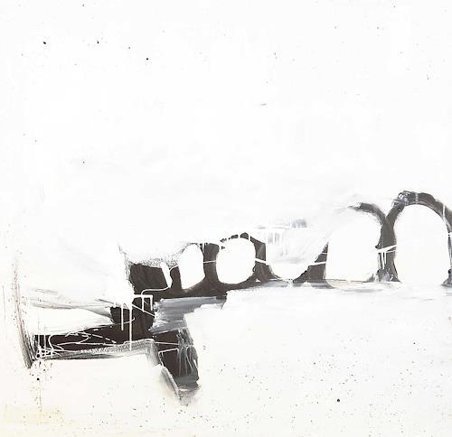 Conny Wachsmann, weisses schwarzes Bild, Dekoratives, Abstraktes, Neue Wilde