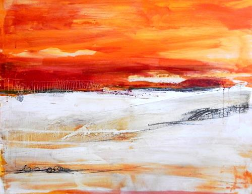 Conny Wachsmann, orange rot Landschaft, Landschaft, Abstraktes, Moderne