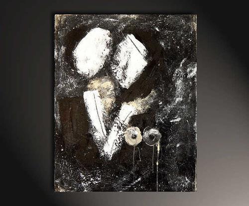 Conny Wachsmann, schwarzweiss Bild als Hochzeitscollage, Abstraktes, Gefühle, Abstrakte Kunst